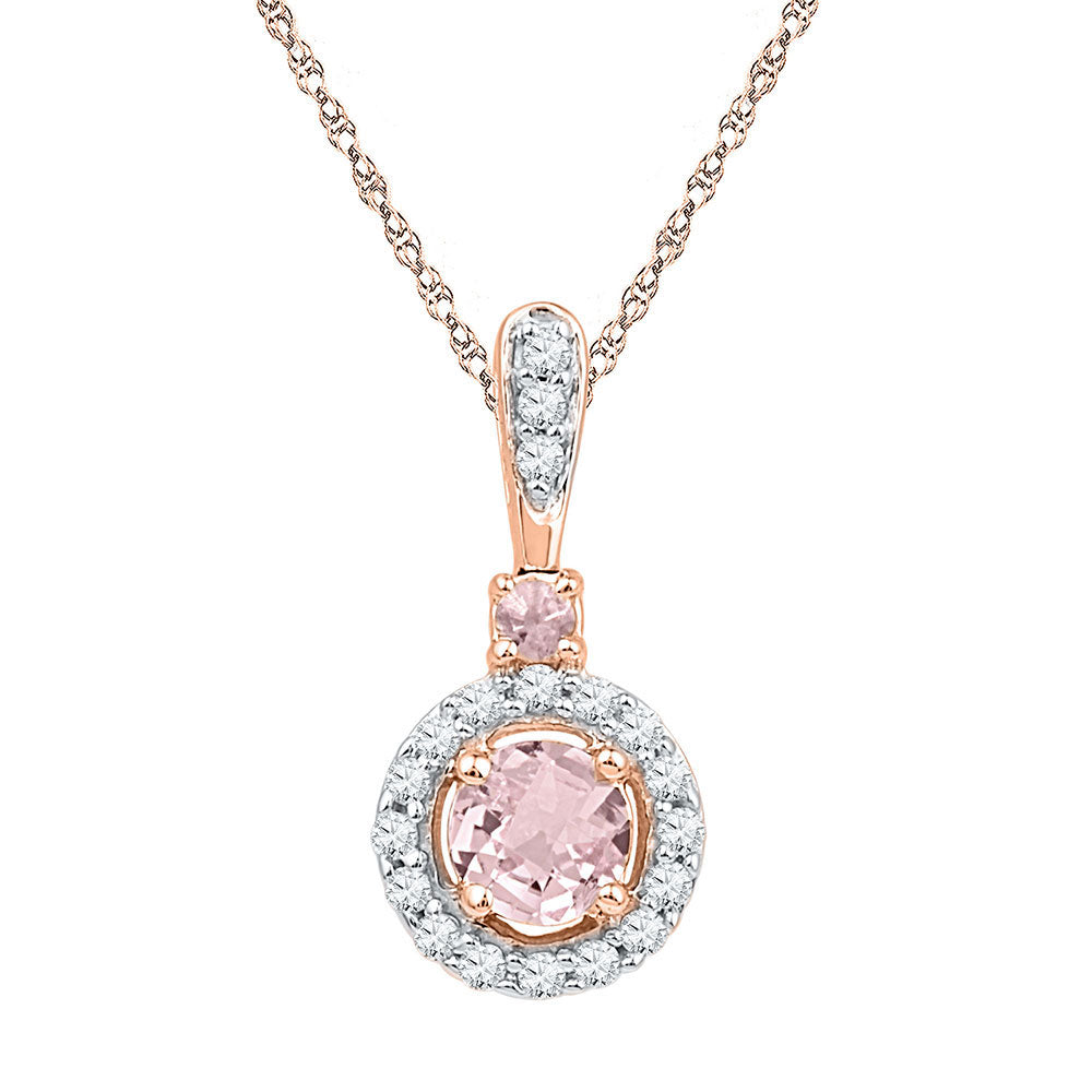 10kt Rose Gold Womens Round Lab-Created Morganite Solitaire Pendant 1/2 Cttw
