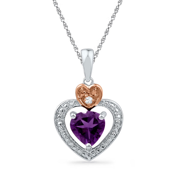 10kt Two-tone Gold Womens Heart Lab-Created Amethyst & Diamond Heart Pendant 3/4 Cttw