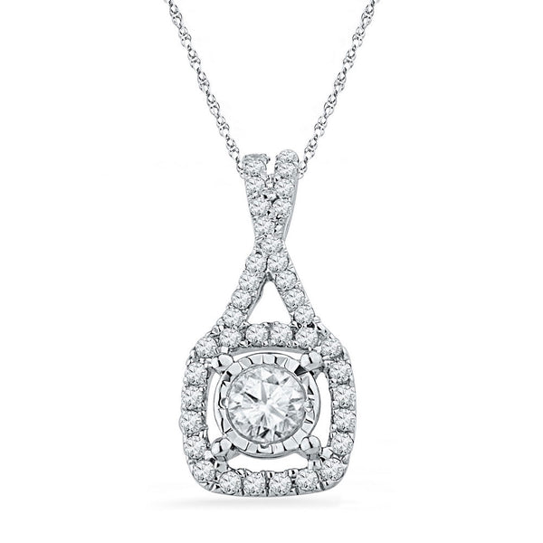 10kt White Gold Womens Round Diamond Solitaire Square Frame Pendant 3/8 Cttw