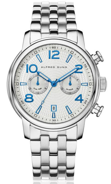 MENS SOLID SS MF WHITE-BLUE DIAL