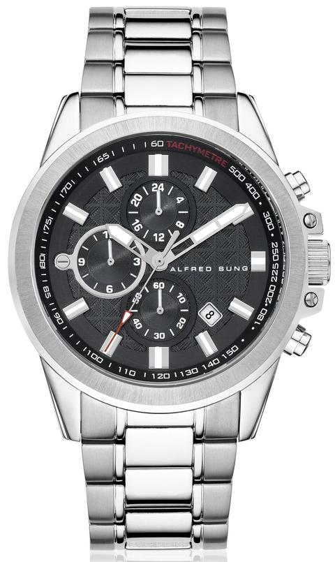 MENS SOLID SS MF BLACK DIAL