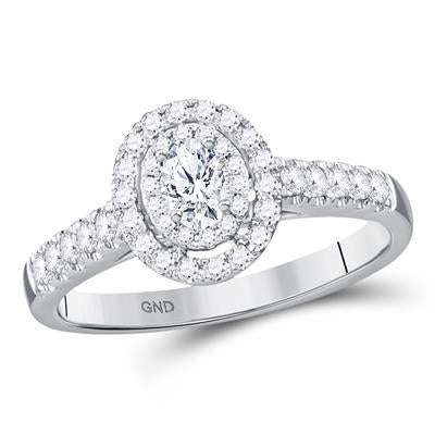 14K WHITE GOLD OVAL DIAMOND SOLITAIRE BRIDAL ENGAGEMENT RING 1/2 CTW (CERTIFIED)