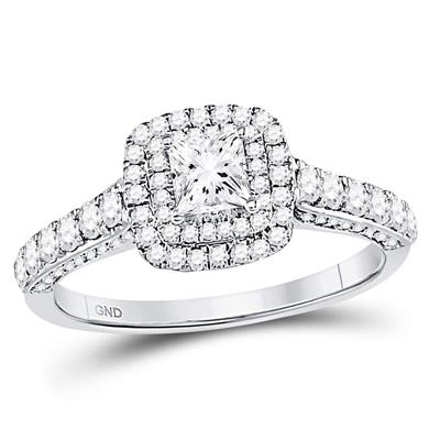 14K WHITE GOLD PRINCESS DIAMOND SOLITAIRE BRIDAL ENGAGEMENT RING 1 CTTW