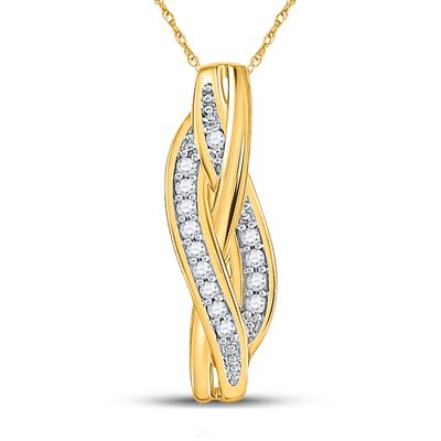 10K YELLOW GOLD ROUND DIAMOND VERTICAL WOVEN STRAND PENDANT 1/20 CTTW