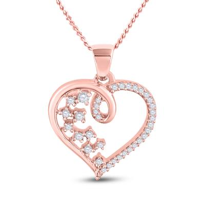 10K ROSE GOLD ROUND DIAMOND SCATTERED HEART PENDANT 1/8 CTTW