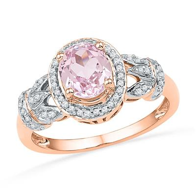 10K ROSE GOLD OVAL MORGANITE DIAMOND SOLITAIRE RING 1 CTTW