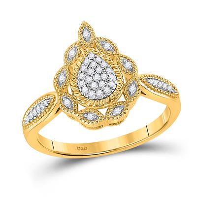 10K YELLOW GOLD ROUND DIAMOND TEARDROP CLUSTER RING 1/8 CTTW