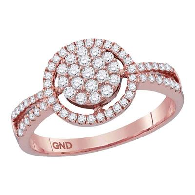 10K ROSE GOLD ROUND DIAMOND CONCENTRIC CIRCLE CLUSTER SPLIT-SHANK RING 1/2 CTTW