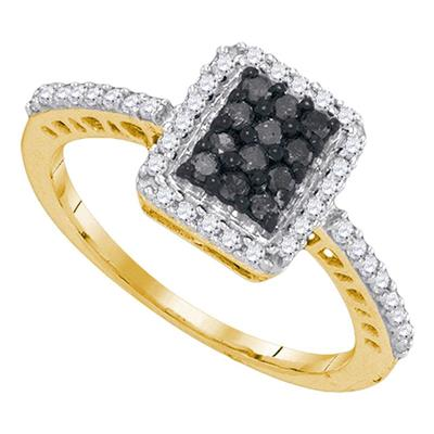 10K YELLOW GOLD ROUND BLACK DIAMOND CLUSTER RING 1/2 CTTW