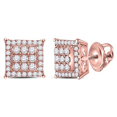 14K ROSE GOLD ROUND DIAMOND SQUARE CLUSTER EARRINGS 1/4 CTTW