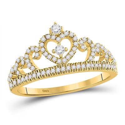 10K YELLOW GOLD ROUND DIAMOND HEART CROWN FASHION RING 1/4 CTTW