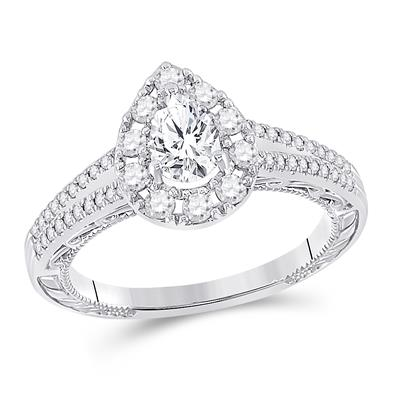 14K WHITE GOLD PEAR DIAMOND SOLITAIRE BRIDAL ENGAGEMENT RING 1 CTTW