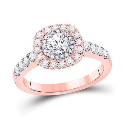 14K ROSE GOLD ROUND DIAMOND HALO BRIDAL ENGAGEMENT RING 1 CTTW