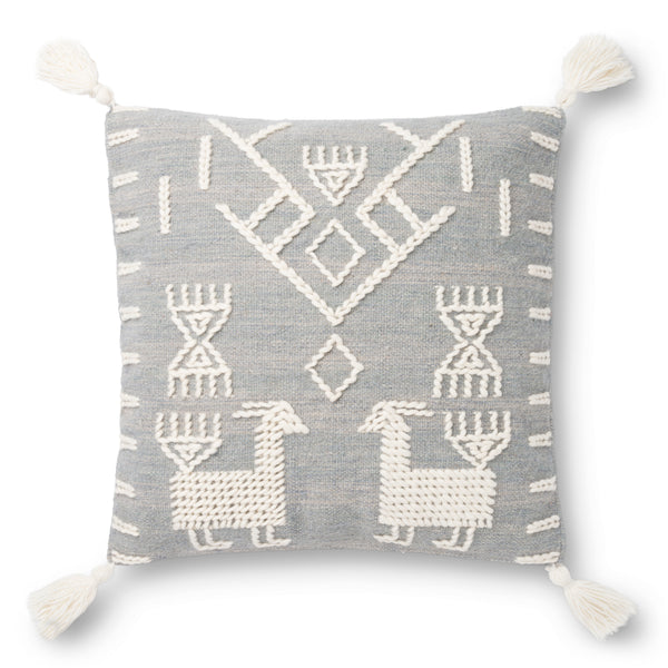 2 Grey Tribe and Tassel Pillows