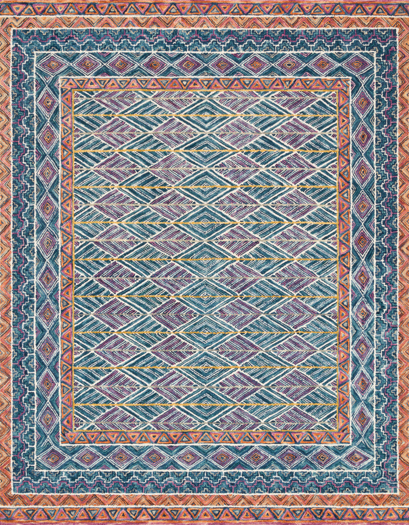 Priti Rug Collection- Teal/Fiesta