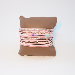 Rhi-Rhi PINK - Boho B Multilayer detailed charm Bracelet