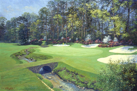 13th green with creek Augusta