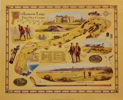Lithograph - Old Course Map of St Andrews