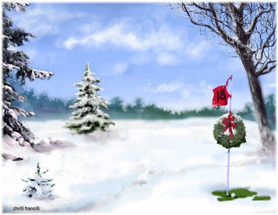 Christmas Greeting Card - 18th hole in snow