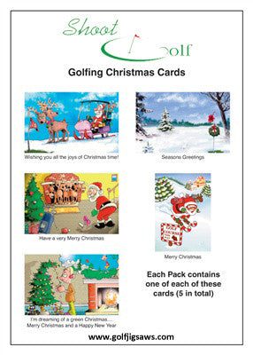 5 Golfing Christmas Cards Pack