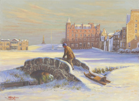 Boy & his sledge - St. Andrews