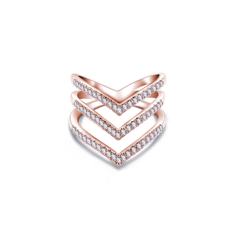 Chevron Triple Row Ring - Decorus Collection
