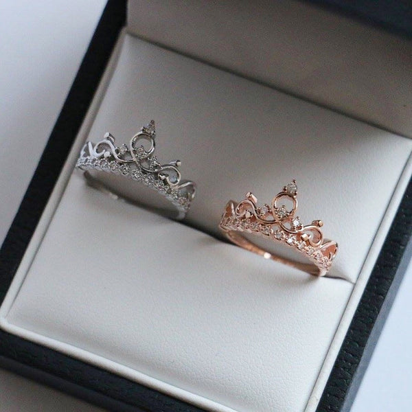 Rose Gold Tiara Sterling Silver Ring - Decorus Collection