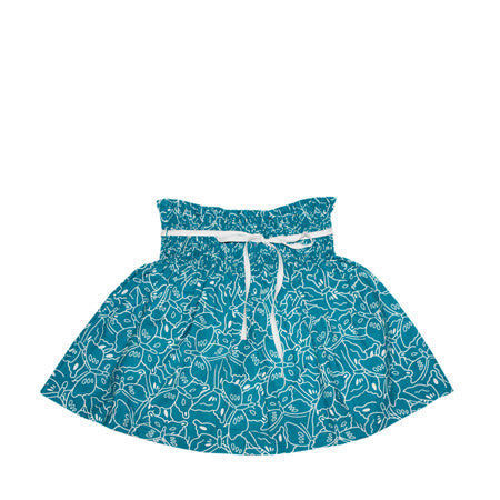 Teal and white butterfly print skirt for baby and girls