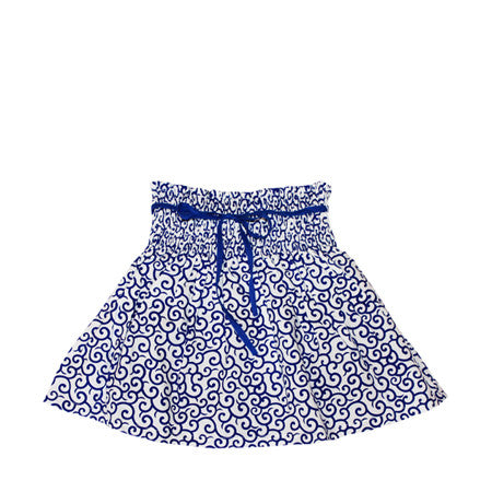 Blue and white cotton skirt for baby and girls