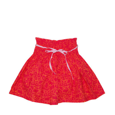 Pink and orange butterfly print skirt for baby and girls