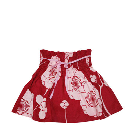 Pink and white flower printed cotton skirt for baby and girls