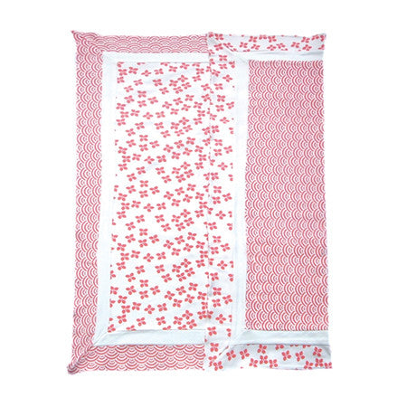 Coral and white pima cotton reversible baby blanket with Japanese wave pattern and cherry blossom pattern