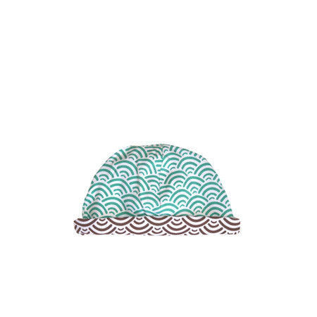 Reversible blue and brown boys baby hat