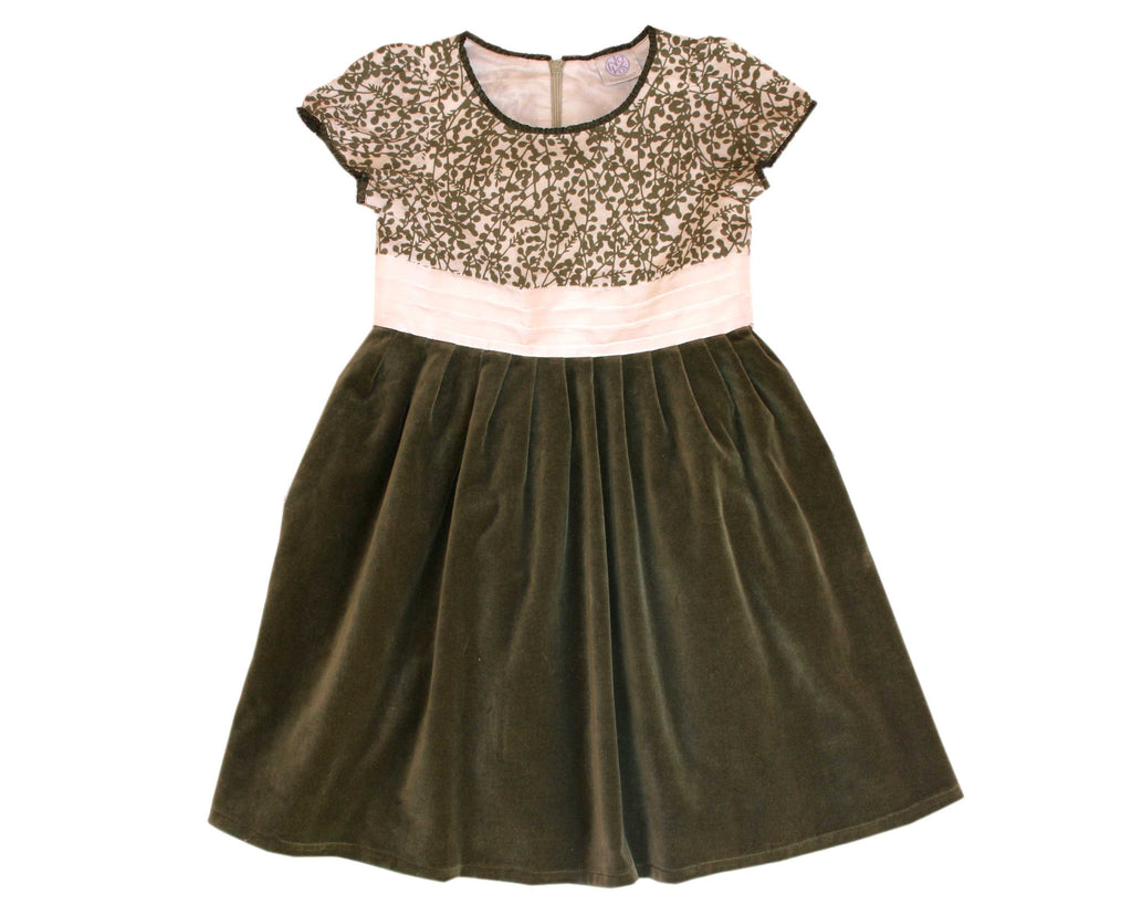 Girls green velvet holiday dress