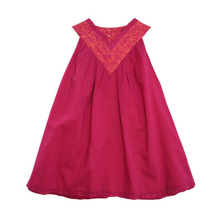 Girls pink sleeveless trapeze dress in cotton voile
