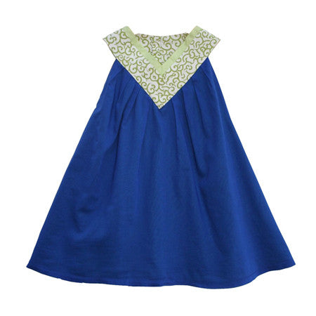 Blue cotton trapeze dress for baby and girls