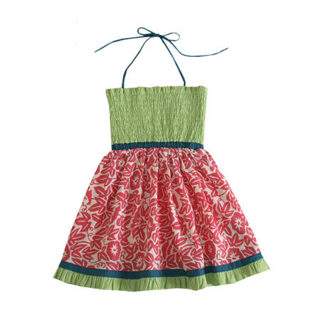 Fun kids halter dress in pink and green cotton