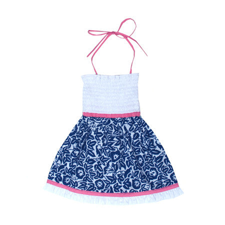 Crisp kids summer dress in blue and white