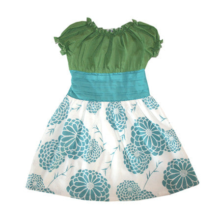 Hana Baby and Girls Dress - Blue/Green - Noko Baby Japanese Inspired baby clothing and girls dresses