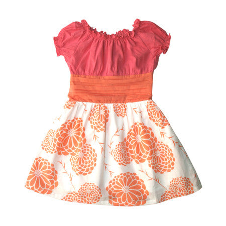 Designer kids Easter dress in Pink and Orange flower