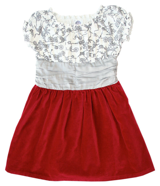 Noko Baby Girls Haname Holiday Dress in Red Velvet, great for Daddy-Daughter Dance