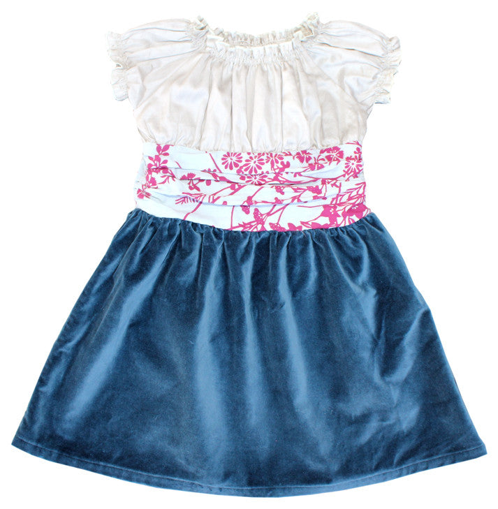 Noko Baby Girls Blue Velvet Hanali Dress