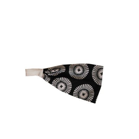 Noko Baby Brand Headband  - for Baby (S), Girl (M), and Lady (L) in black casa (umbrella) pattern tenugui