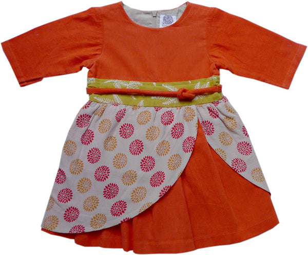 Iwa Baby Dress - Orange - Noko Baby Japanese Inspired baby clothing and girls dresses