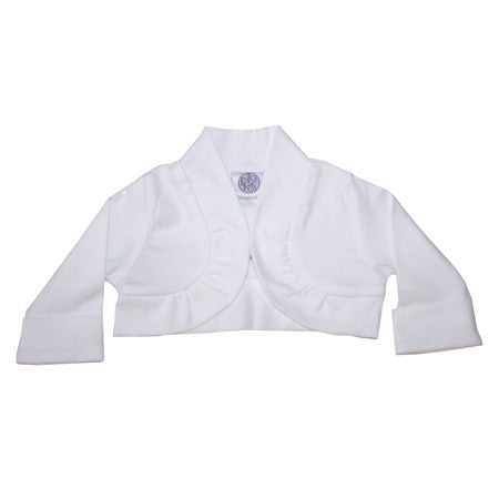 White cotton knit bolero kids jacket