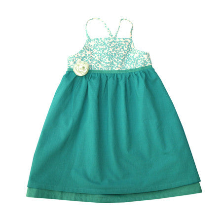 Green and white kids resort halter dress