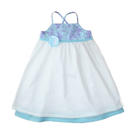 White with teal and lilac iris print halter dress for baby and girls