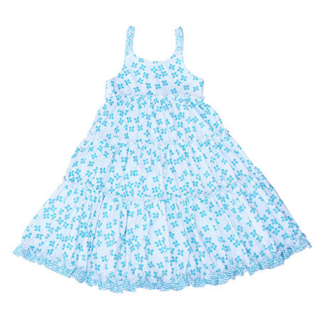 Sky blue Japanese sakura print kids dress