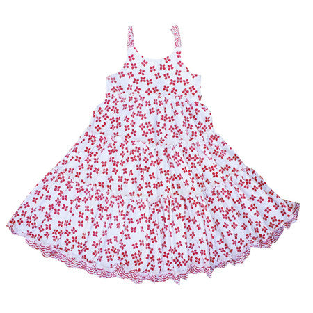 Pima cotton girls spinning dress in hot pink flower pattern