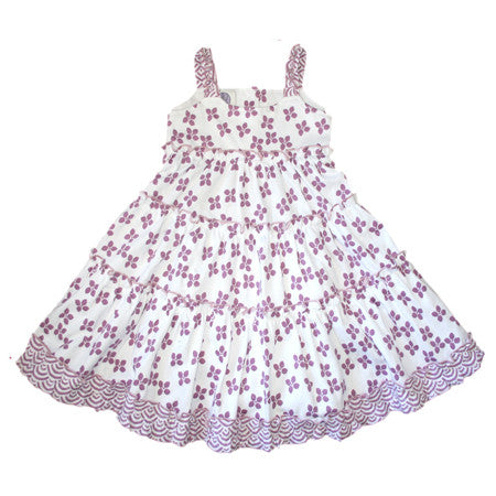 Lilac flowered baby and girls cotton knit dress